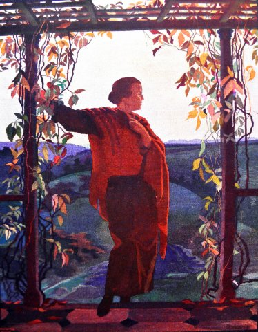 Őszi est - gobelin a festmény alapján (készült a Székesfővárosi Iparrajziskolában, 1930-as évek) / Autumn evening - gobelin after the painting (woven in the School of Applied Arts, 1930s)