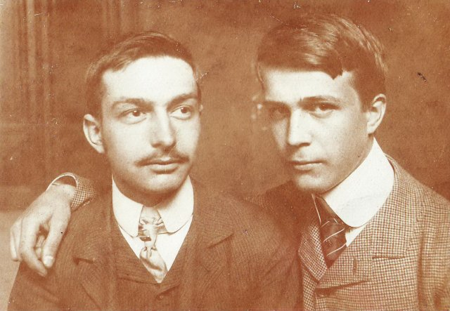 Főiskolai barátok (Voit Ervin festőművésszel) / College friends (with artist-painter Ervin Voit, on the right) (1907)