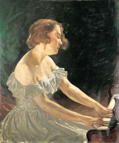 Zongorázó (A művész felesége) / Piano player (The artist's wife) (1934)