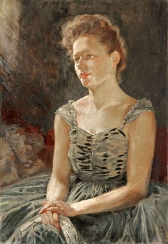 Báliruhás portré (A művész leánya) / Lady in evening dress (The artist's daughter) (1950)