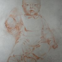 Vázlat az 1 éves Jutka portréjához / Sketch to the portrait of one-year-old Jutka (Ceruza, kréta / pencil, chalk - 1952)