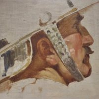 Katonafej, tanulmány freskóhoz / Study of a soldier's head, for a fresco (1940-es évek / 1940s)