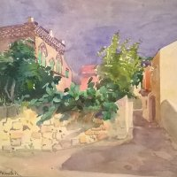 Adriai városrészlet / Village on the Adriatic coast (akvarell, 1915? / water-colour, 1915?)
