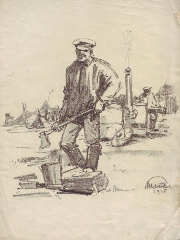 Orosz hadifogoly tüzelőt hasít a gulyáságyúhoz (Kissitke, orosz hadifogolytábor, 1915) / Russian POW splitting firewood for a field kitchen (Kissitke, Hungary, Russian POW camp, 1915)