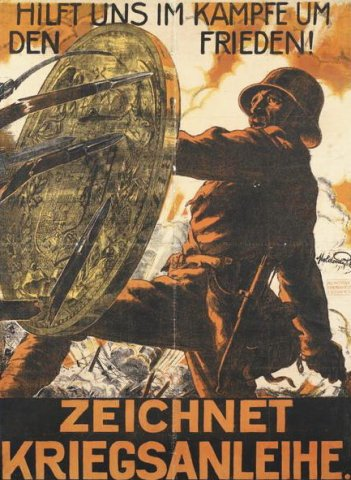 """Zeichnet Kriegsanleihe"" - Hadikölcsön-plakát / ""Help in the Struggle for Peace - Subscribe to the War Loan"" (1916, forrás/source: Visual Arts Data Service)"